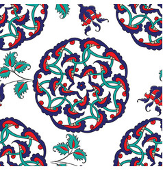 Turkish iznik tile seamless islamic pattern with vector