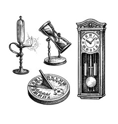 Types antique watches vector