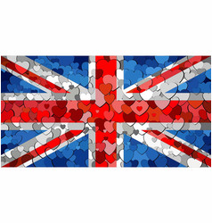 united kingdom national flag made of hearts vector image