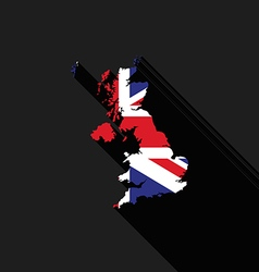 United Kingdom UK flag map flat design vector