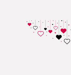 valentines day poster with red hearts vector image