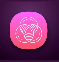 Venn diagram app icon primary diagram three vector