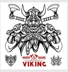 viking warrior with big crossed axes vector image