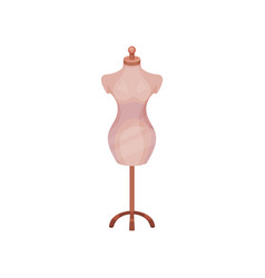 Vintage female mannequin on wooden stand item for vector