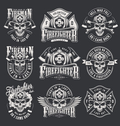 Vintage firefighter logos collection vector