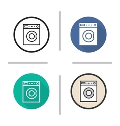 Washing machine flat design linear and color vector image