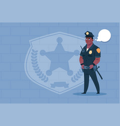 african american policeman with chat bubble vector image