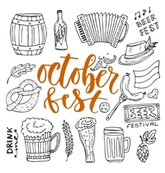 Beer october fest doodle icons set beer vector