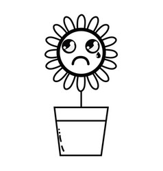 Line kawaii beauty and crying flower plant vector