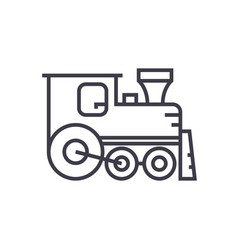 locomotive line icon sign on vector image