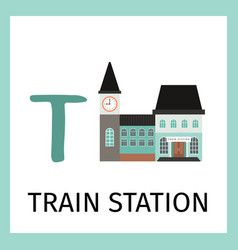 alphabet card with train station building vector image