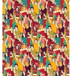 Crowd active happy people seamless color pattern vector image