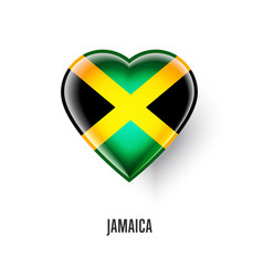 patriotic heart symbol with jamaica flag vector image vector image