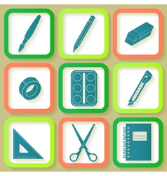Set of 9 icons of instruments vector image