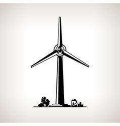 Silhouette Wind Turbine vector image