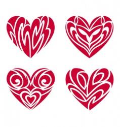 tribal hearts tattoo set vector image