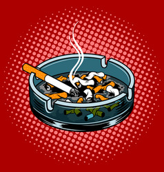 ashtray with cigarette butts pop art style vector image