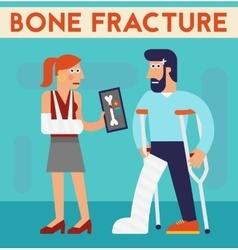Bone fracture character cartoon vector image