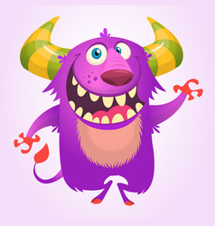 Cute cartoon violet horned and fluffy monster vector