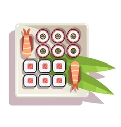 Japanese sushi over a plate vector image vector image