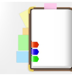 opened dairy or notepad with bookmarks vector image vector image
