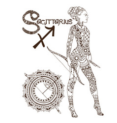 Stylized zodiac sign of sagittarius vector