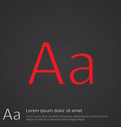 typography outline symbol red on dark background vector image vector image