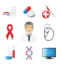 9 highly detailed medical icons set vector image vector image
