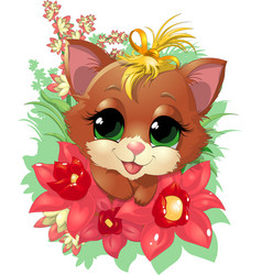 beautiful cute kitten vector image