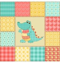 Crocodile patchwork pattern vector image vector image