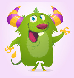 cute cartoon horned and fluffy monster smiling vector image