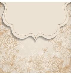 frame on vintage background with floral patterns vector image