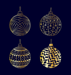 hand drawn gold christmas ball toy set vector image vector image