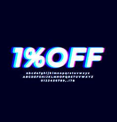 1 off one percent sale font abstract glow blue vector