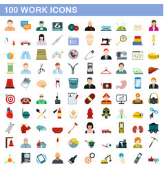 100 work icons set flat style vector