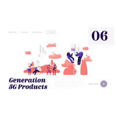 5g technology website landing page workers on vector image