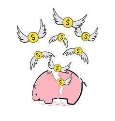 A broken saving money piggy bank dollars money vector