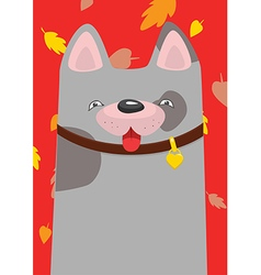 A mongrel in the collar under the autumn leaf fall vector image