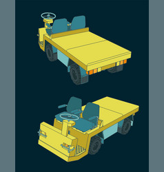 Airport baggage towing tractor vector
