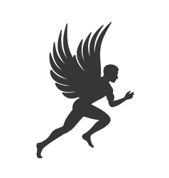 Angel Silhouette Man with Wings Sign vector image