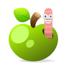 apple with worm on white background vector image