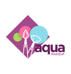 Aqua makeup logo with cosmetic brushes and round vector