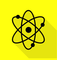 atom sign black icon with flat style vector image