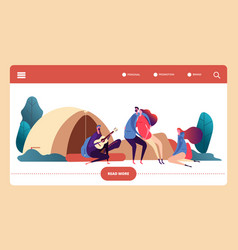 autumn forest camp web page template vector image