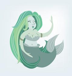 beautiful mermaid flat siren vector image