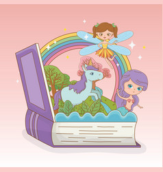 Book open with fairytale mermaid and fairy with vector