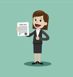 businesswoman or manager holding a contract or vector image