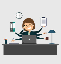 busy secretary smiling with laptop vector image