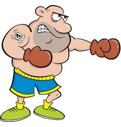 cartoon boxer punching vector image