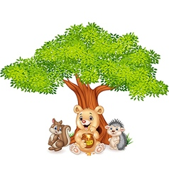 Cartoon funny animal on the tree vector